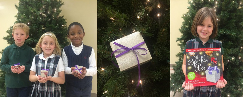 Students from St. Vincent Ferrer received a Sparkle Box last week. Shown at left are Aaron Muse, Ada Rohrkemper, and Joshua O'Neale. At right is Josilyn Bodart. (Courtesy Photos)