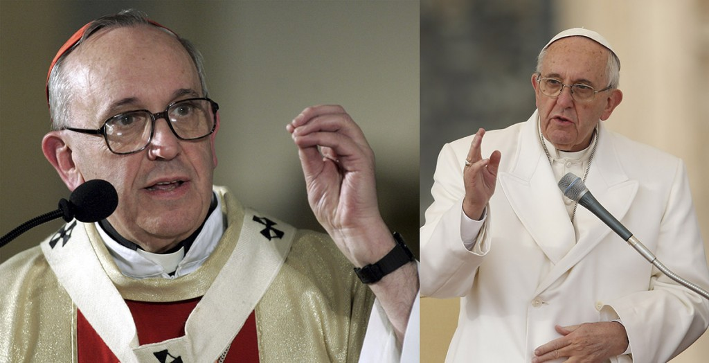 At right, Pope Francis is seen in a 2005 CNS photo when he was known as Cardinal Jose Mario Bergoglio. At right, the pontiff delivers his blessing during his general audience in St. Peter's Square at the Vatican Dec. 16. The Holy Father turned 79 Dec. 17. (CNS photo/Paul Haring)