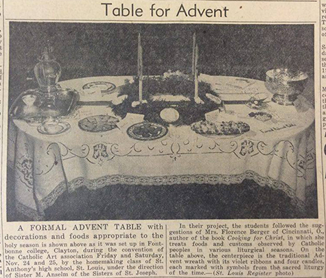 An image from a 1950 edition of The Catholic Telegraph shows an formal table setting for Advent displayed as art. (CT File)