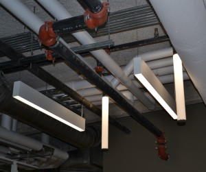 "Unique LED lighting and a new HVAC system allowed for an ""open ceiling"" concept. (CT Photo/John Stegeman)"