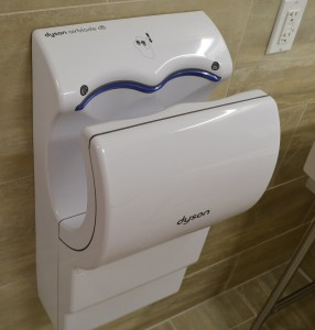 Dyson airblade hand dryers replace paper towels in the new energy efficient restrooms. (CT Photo/John Stegeman)