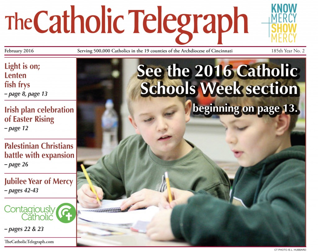 Cover of February 2016 print edition of The Catholic Telegraph.
