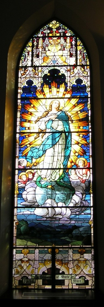 One of the historic windows at St. Julie Billiart parish in Hamilton The Immaculate Conception is depicted here. (Courtesy Photo)