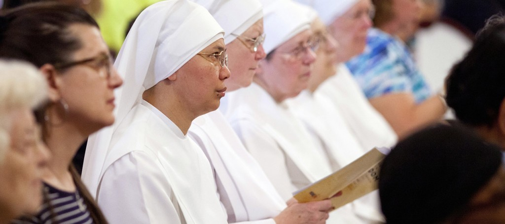 Members of the Little Sisters of the Poor attend the 2014 celebration of the third annual Fortnight for Freedom Mass at the Basilica of the National Shrine of the Assumption of the Blessed Virgin Mary in Baltimore. The 10th U.S. Circuit Court of Appeals ruled July 14 the Little Sisters and other religious entities are not substantially burdened by federal procedures that would enable them to avoid providing contraceptives in health insurance coverage. (CNS photo/Tom McCarthy Jr., Catholic Review)