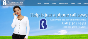 A screenshot of the Birthright of Greater Cincinnati website.