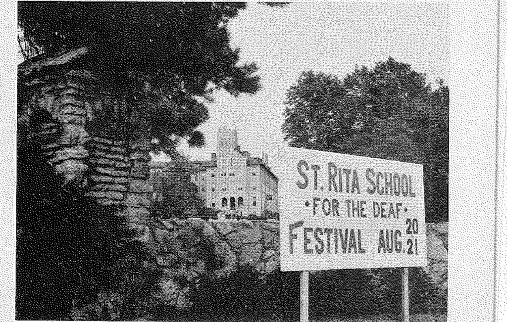 A sign advertises St. Rita School for the Deaf's summer festival in this undated file photo. St. Rita announced Friday it has ended the festival after 99 years. (CT File)