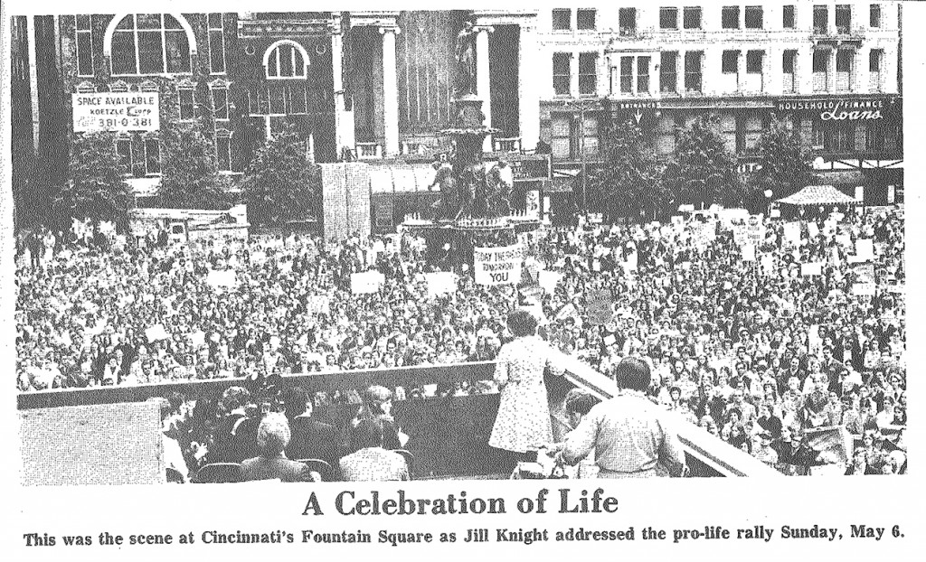 Photo shows 7,000 people gathered in Cincinnati to oppose abortion in May of 1973. (CT File)