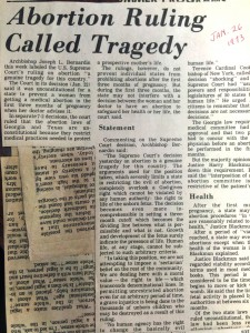 A clipping shows the headline from the first edition of The Catholic Telegraph following the Roe vs. Wade decision in 1973. (CT File)