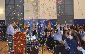 Students and staff of DePaul Cristo Rey High School celebrate 100 percent college acceptance of this year's senior class. (Courtesy Photo)