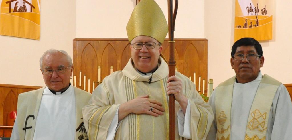 Comboni Missionary Father Rodolfo Coaquira Hilaje, right, was installed as chaplain moderator of the San Carlos Borromeo Hispanic Community. (Courtesy Photo)