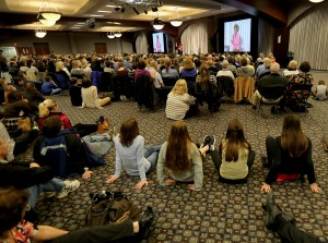 An overflow crowd listens as Immaculèe Ilibagiza shared her story of forgiveness during a talk at the Cintas Center in Cincinnati Monday, Feb. 22, 2016. (CT Photo/E.L. Hubbard)