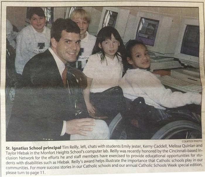 This photo from the January 26, 2001 edition of The Catholic Telegraph features St. Ignatius principal Tim Reilly and students in the school's computer lab. See below for an updated photo taken today, more than 15 years later. (CT File)