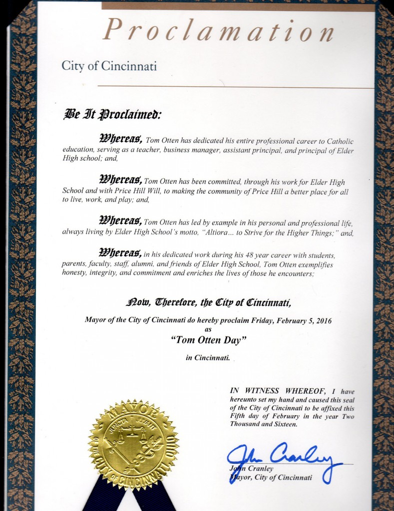 The official proclamation declaring Feb. 5, 2016 Tom Otten Day in the City of Cincinnati. (Courtesy of Elder High School)