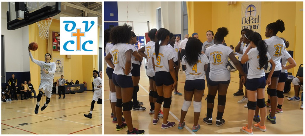 Basketball, left, and volleyball are two of the sports offered at DePaul Cristo Rey High School. The Bruins' sports teams will compete in the Ohio Valley Christian Conference beginning next fall. (Courtesy Photos)