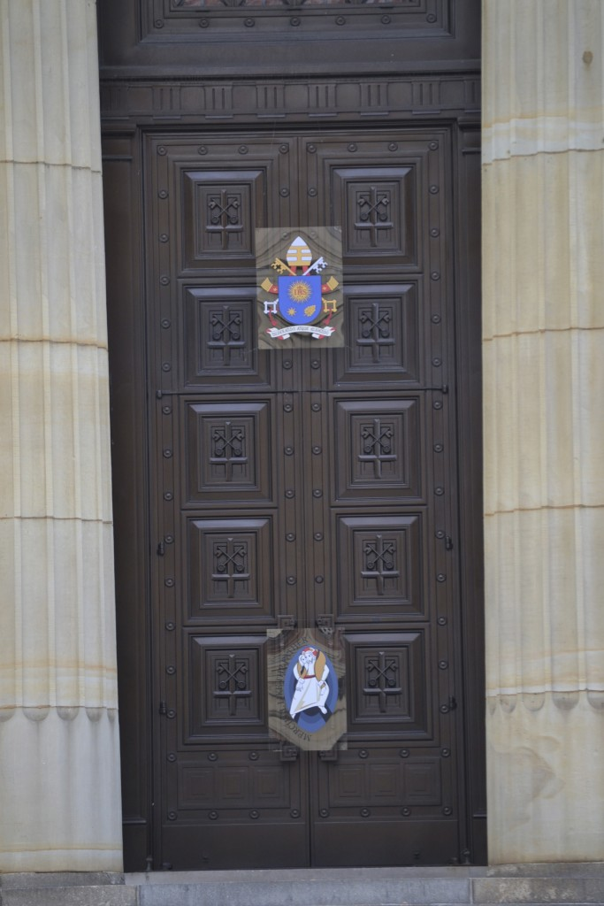 A door of the Cathedral of St. Peter in Chains in Cincinnati that will serve as a holy door during the Year of Mercy is shown sealed in November of 2015. (CT Photo/John Stegeman)