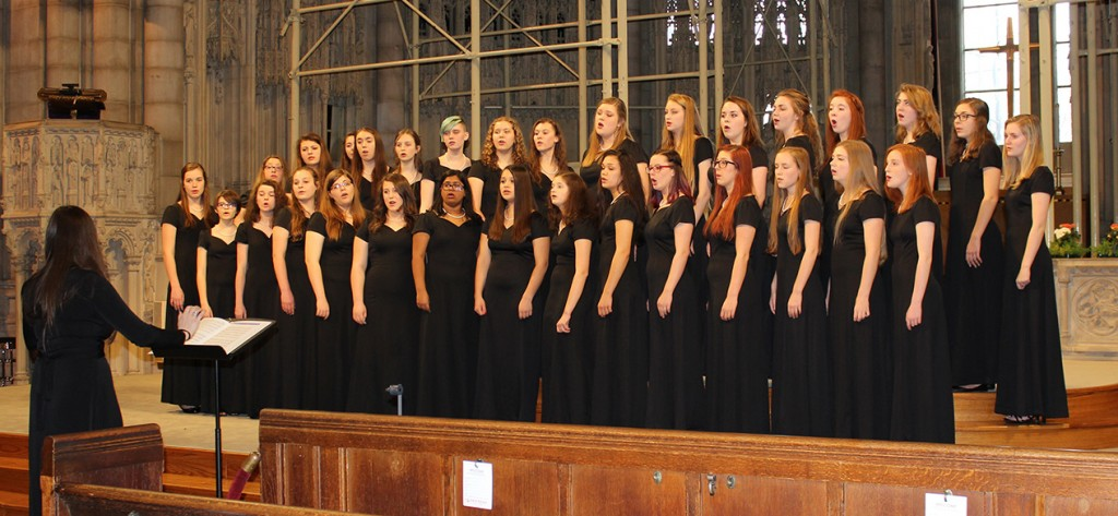 Ursuline Academy Women's Chorus performing at the WorldStrides OnStage Competition on April 2 in New York City where they earned a Gold Award. (Courtesy Photo)