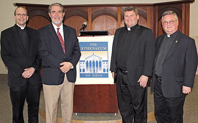 Father David Endres, Dr. Scott Hahn, Father Andrew Umberg, and Father Benedict O'Cinnsealaigh at Mount St. Mary's Seminary on April 15. (Courtesy Photo)
