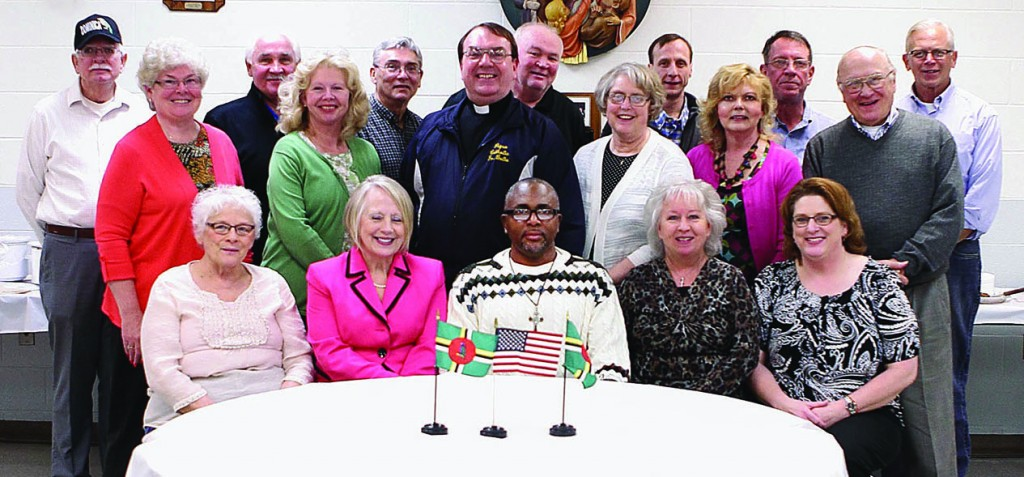 Parish council members from St. Mary and St. Boniface parishes welcome visitor from Dominica. (Courtesy Photo)