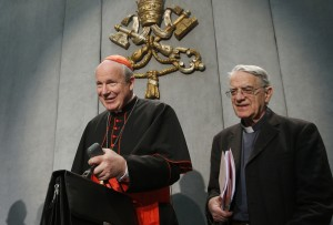 "Austrian Cardinal Christoph Schonborn and Jesuit Father Federico Lombardi, papal spokesman, arrive for a news conference for the release of Pope Francis' apostolic exhortation on the family, ""Amoris Laetitia"" (""The Joy of Love""), at the Vatican April 8. The exhortation is the concluding document of the 2014 and 2015 synods of bishops on the family. (CNS photo/Paul Haring)"