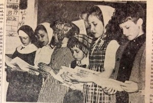 "Students at Our Lady of Mercy sing simplified hymns during a practice ""mass."" Pictured from left are Mary Murray, Michelle Logan, Anne Shillito, Mary Killgallen, Judy Frey and Mark Monroe. (CT File)"