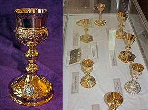 The chalices of Mount St. Mary's seminarians scheduled to be ordained priests are on display in the seminary library. (Courtesy Photo)
