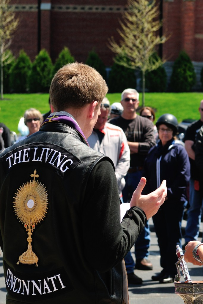 Father Ethan Moore's vest is seen during the blessing of the bikes April 24. (CT Photo/Jeff Unroe)