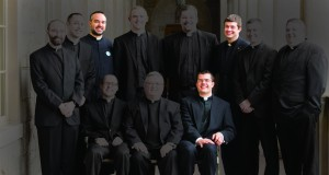 Three men from Mount St. Mary's Seminary are being ordained for other dioceses. Highlighted from left are Deacons Thomas Reagan, Jason Bertke, Jeffrey Smith. (Courtesy Photo/Susan DeClercq)