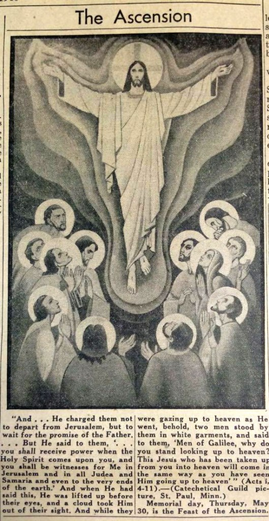 A scene in the May 24, 1947 The Catholic Telegraph-Register depicts the ascension of Jesus into heaven. (CT File)