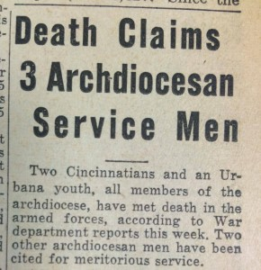 During World War II, clippings like the one above were common in the pages of The Catholic Telegraph. (CT File)