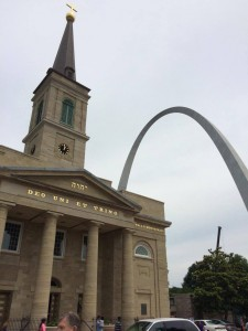 The Basilica of St. Louis, King of France, is seen near the Gateway Arch in St. Louis, MO. St. Louis hosted the 2016 Catholic Media Conference. (CT Photo/John Stegeman)