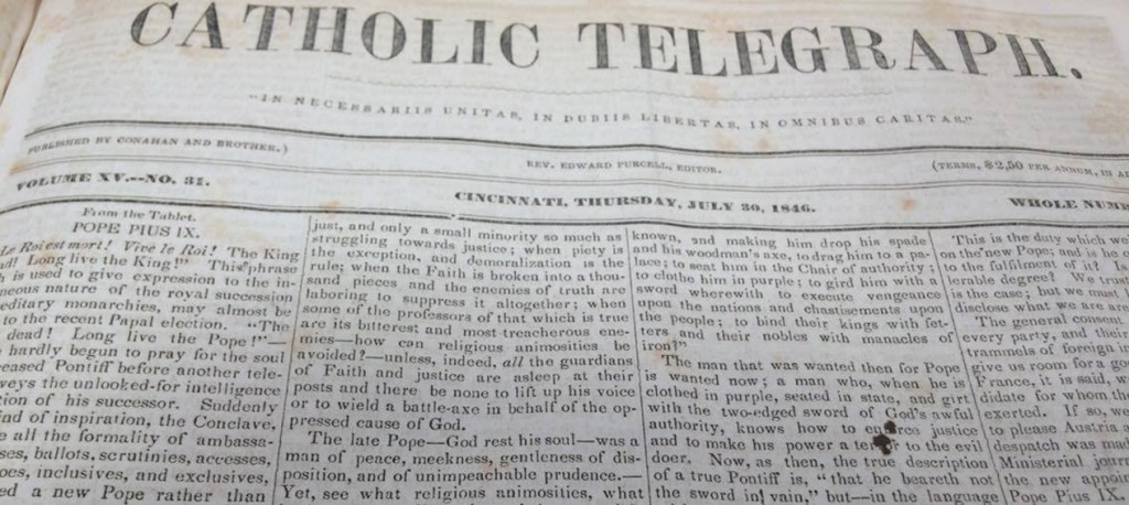 The front page of the July 30, 1846 edition of The Catholic Telegraph reported the election of Pope Pius IX. (Courtesy Archdiocese of Cincinnati Chancery Archives)
