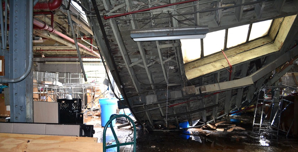Water damage from rain and the sprinkler system did major damage to the St. Vincent DePaul warehouse on Winchell Ave. on June 23. (CT Photo/John Stegeman)