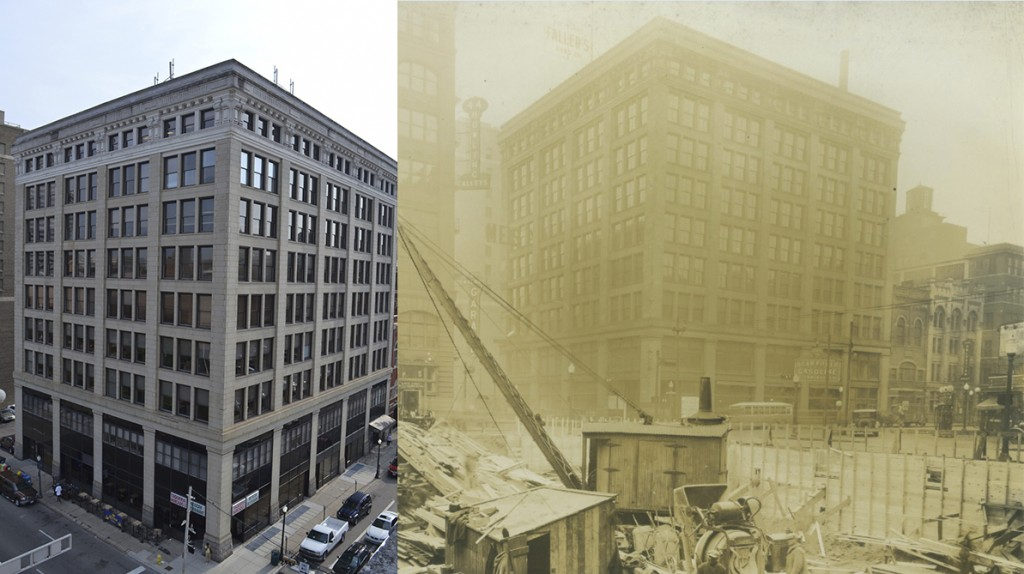 A side-by-side photo shows 100 E. 8th Street in downtown Cincinnati, home of the Archdiocese of Cincinnati Central Offices, in 2015 (left) and in 1928. (CT Photo/Archives Photo)