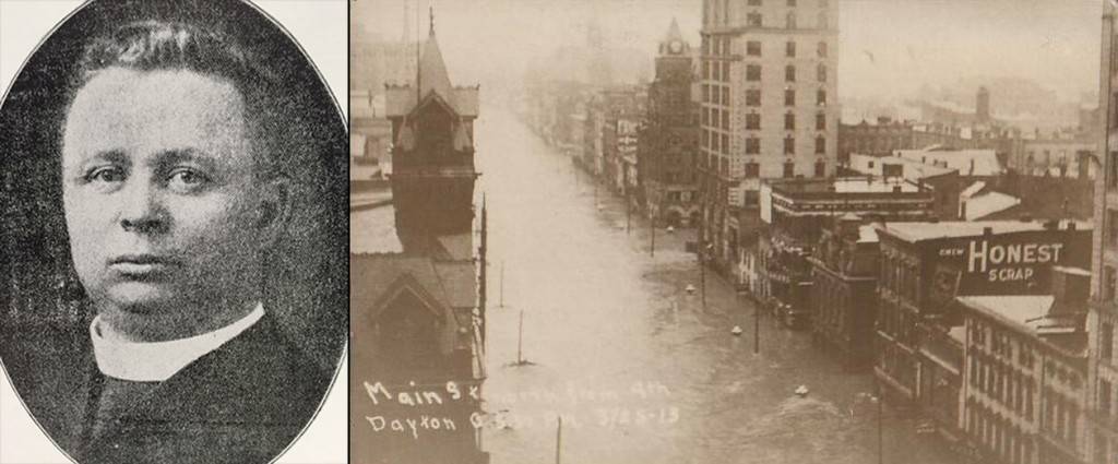 Father Charles Polichek, left, was a Dayton pastor whose congregation was affected by the flood. At right, Main Street in Dayton is submerged during the 1913 flood. (Fr. Polichek courtesy of Archives, flood photo public domain.)