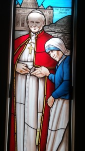 Stained Glass Window of St. John Paul II and Mother Teresa in the Chapel at the Athenaeum of Ohio (CT Photo/Greg Hartman)