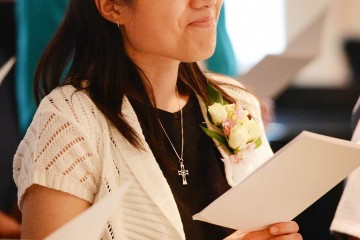 Sister of Mercy Phuong Mai Dong smiles during her first profession ceremony. (Courtesy Photo)