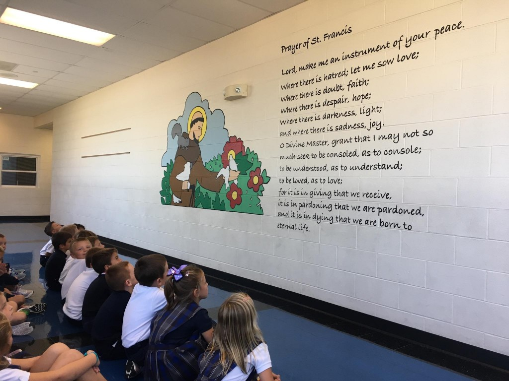 First Graders learning about the Prayer of St. Francis. (Courtesy Photo)