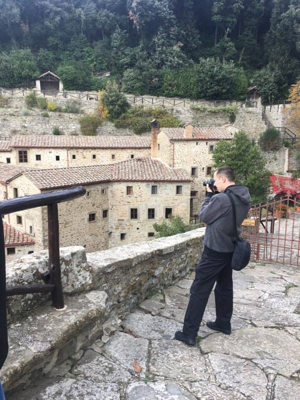 Fr. Timothy Fahey takes in the view taking a few pictures of Cortona (Courtesy Photo)