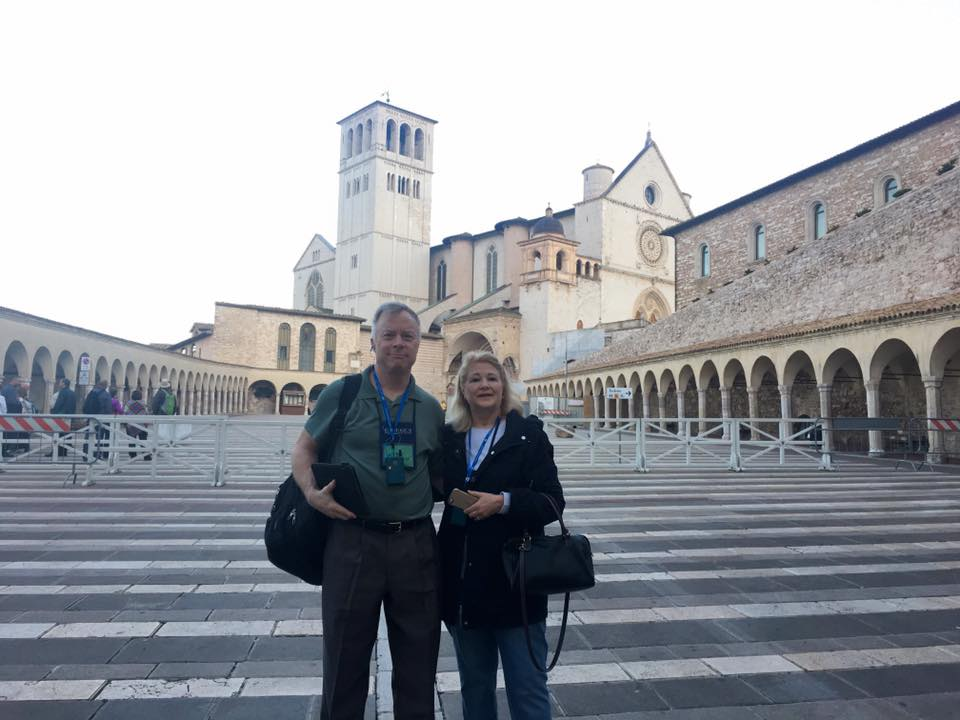Companions of St. James outside the Basilica of St. Francis in Assisi. (Courtesy Photo)