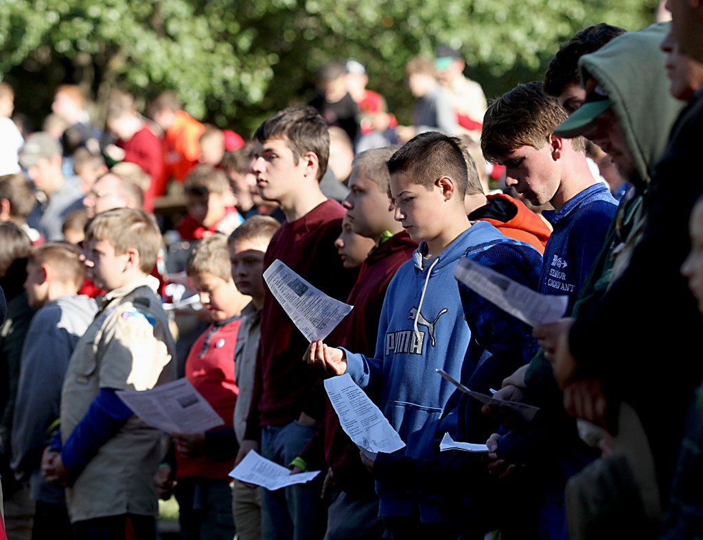 Scouts sing during the Peterloon Camporee Mass at Camp Friedlander in Loveland Sunday, October 9, 2016 .(CT Photo/E.L. Hubbard)