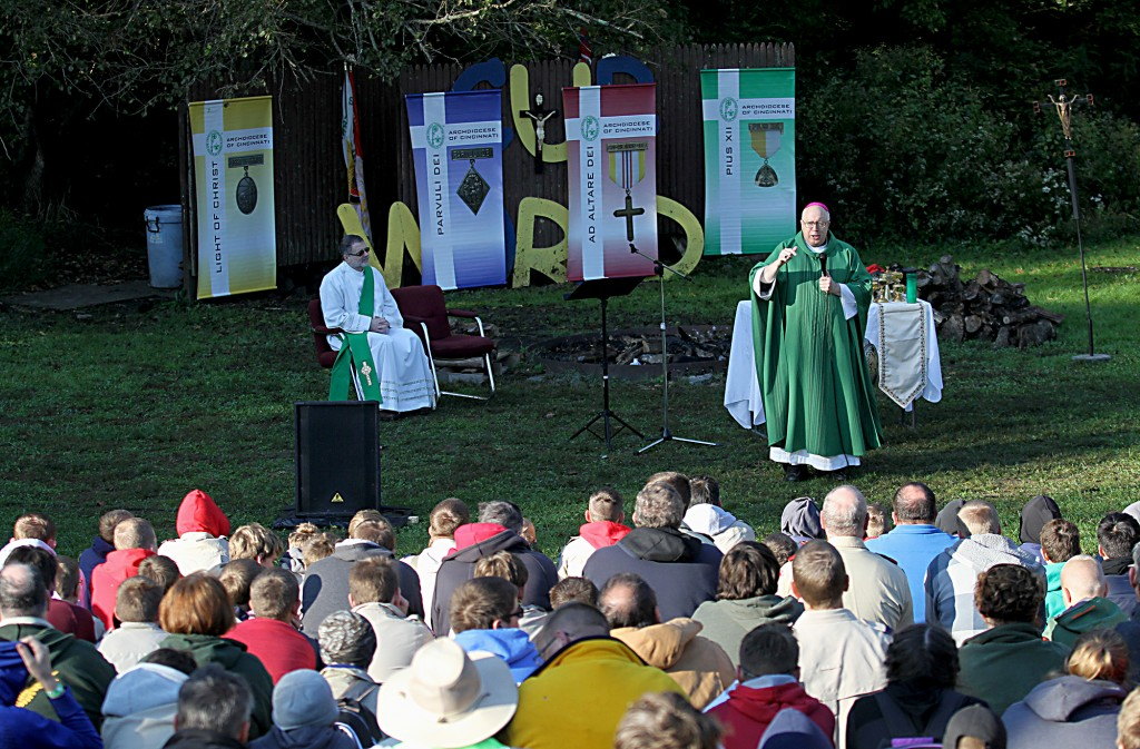 (CT Photo/E.L. Hubbard) Bishop Joseph Binzer delivers his Homily during the Peterloon Camporee Mass at Camp Friedlander in Loveland Sunday, October 9, 2016.