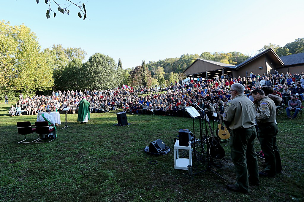 Bishop Joseph Binzer delivers his Homily during the Peterloon Camporee Mass at Camp Friedlander in Loveland Sunday, October 9, 2016. (CT Photo/E.L. Hubbard)