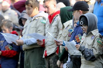 Scouts sing during the Peterloon Camporee Mass at Camp Friedlander in Loveland Sunday, October 9, 2016. (CT Photo/E.L. Hubbard)