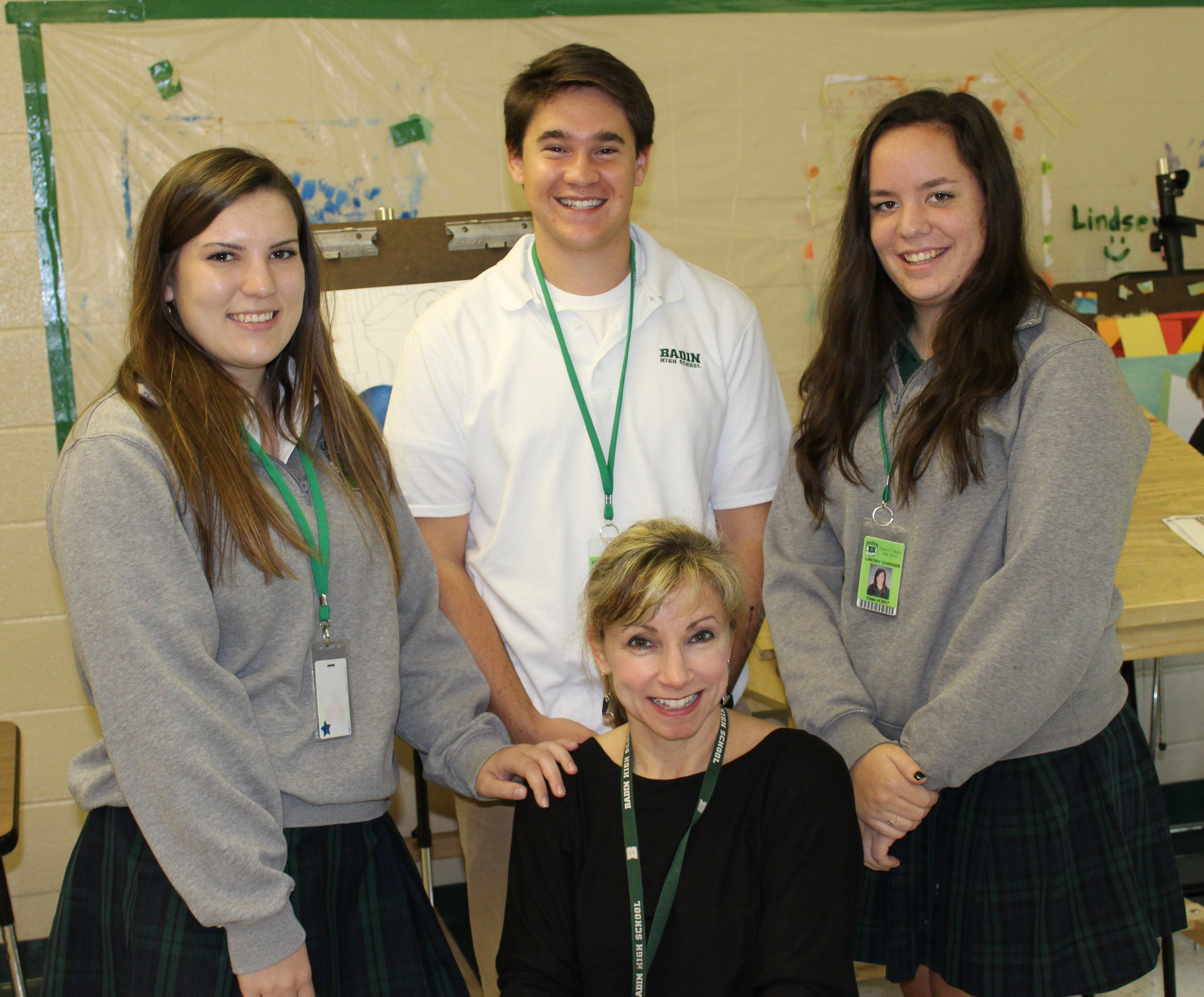 From left in the photo are Badin seniors Claire Smith, Dominic Grime and Lindsey Doerger, with art teacher Mrs. Sarah Daniels in front. (Courtesy Photo)