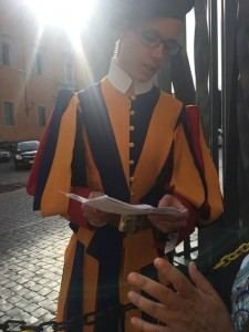 Swiss Guard Members check credentials of Companions of St. James. (Courtesy Photo)