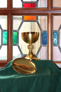 This chalice and paten were given by Pope Saint John Paul II to then Msgr. Dennis M. Schnurr on October 22, 1993 in Rome. These gifts were in recognition for his services in coordinating the World Youth Day celebration in Denver in 1993. (Courtesy Photo)