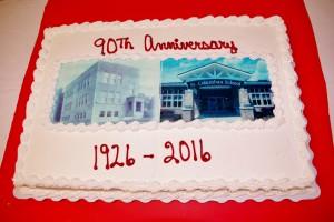 St. Columban celebrates 90 years with a cake. (Courtesy Photo)
