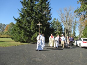Father Dohrman Byers leads a Walk of Mercy in Brown County (Courtesy Photo)