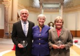 Elizabeth Seton Award recipients John DiCola and Janet Schelb (right) pictured with Sisters of Charity of Cincinnati president Sister Joan Elizabeth Cook. (Courtesy Photo)