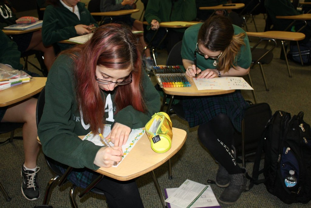 Ursuline students developing cards for the feast day of St. Angela Merici (Courtesy Photo)